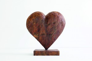 Rustic Bronze Heart on Base