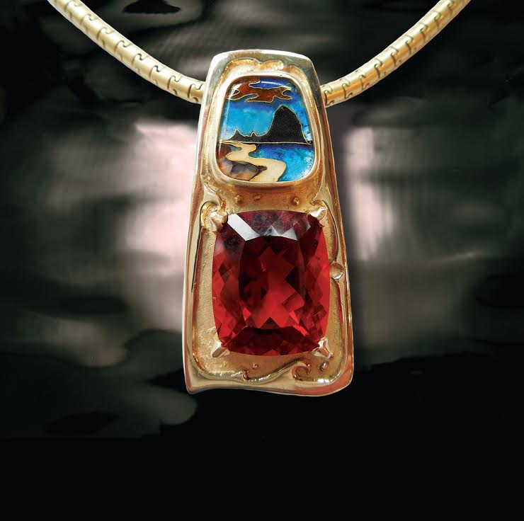 Cloisonne Madiera Citrine Pendant by Sharon Amber at Jewelry by Sharon Amber